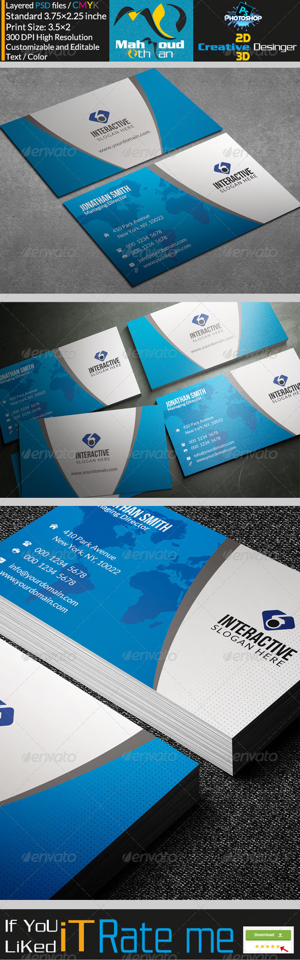GraphicRiver Modern Blue Business Card 29 7764102