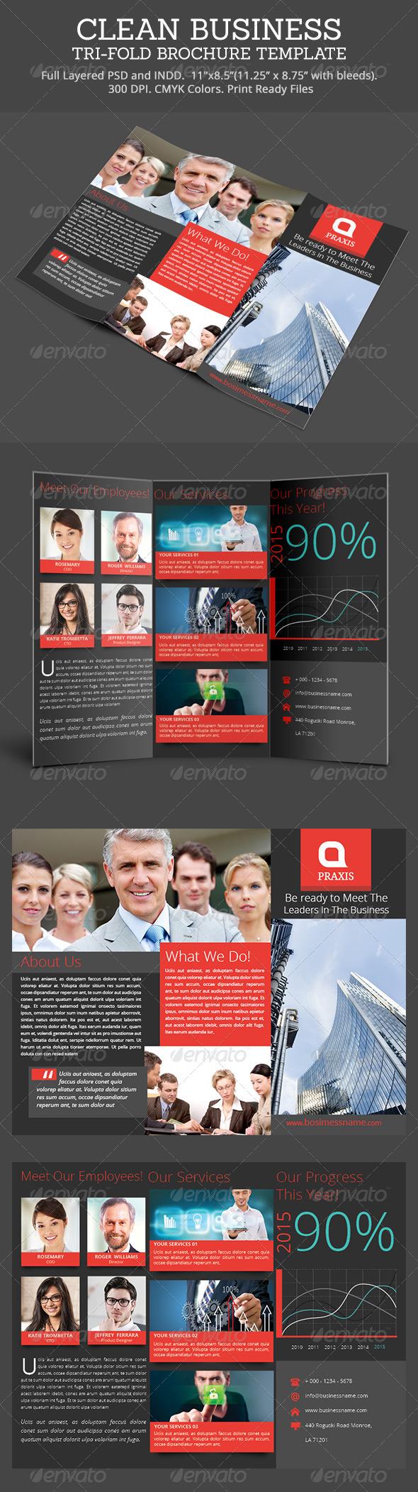 GraphicRiver Clean Business Tri-Fold Brochure 7764475