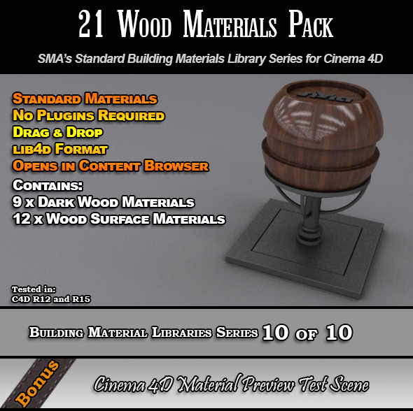 3DOcean 21 Standard Wood Materials Pack for Cinema 4D 7764521