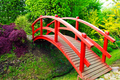 Red bridge in Japanese style garden - PhotoDune Item for Sale
