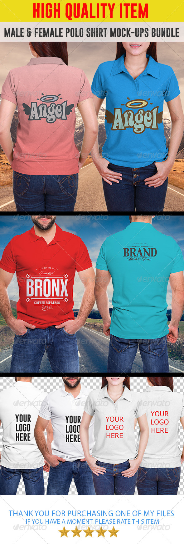 GraphicRiver Male & Female Polo Shirt Mock-ups Bundle 7771089