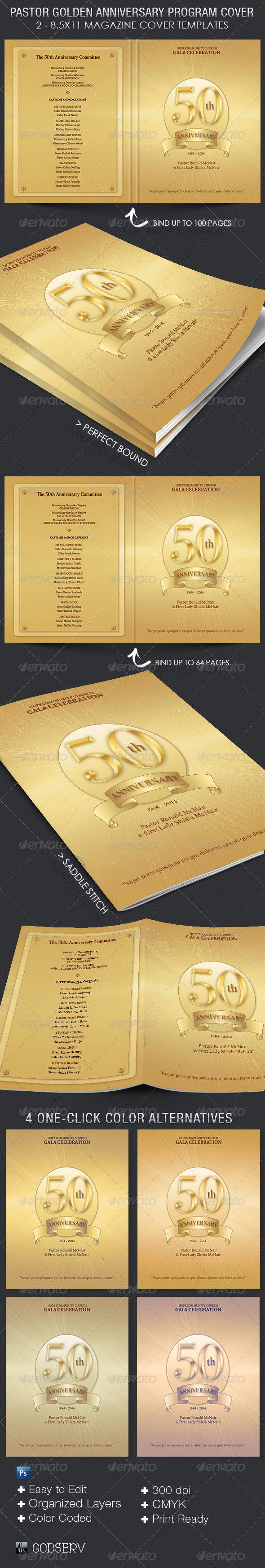 GraphicRiver Pastor Golden Anniversary Program Cover Template 7751974