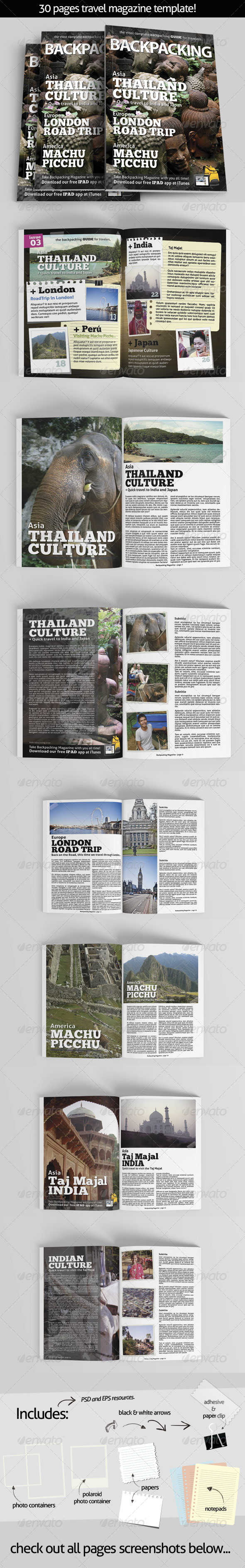 GraphicRiver BackPacking Magazine Template for Print 7771672
