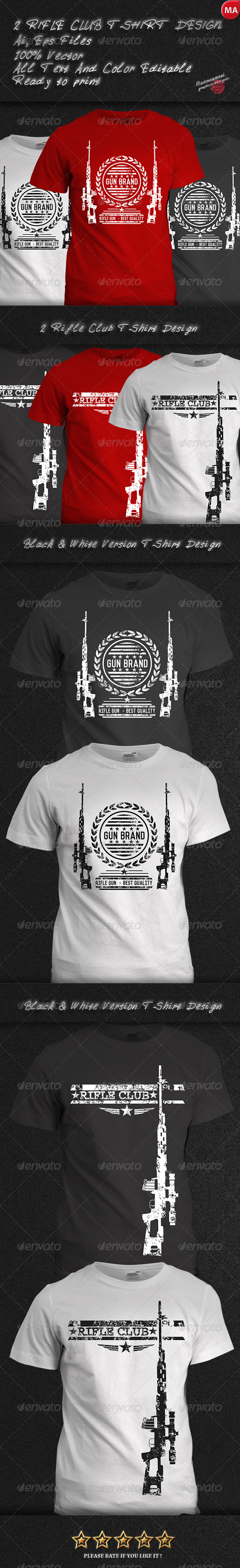 GraphicRiver 2 Rifle Club T-Shirt Design 7772245