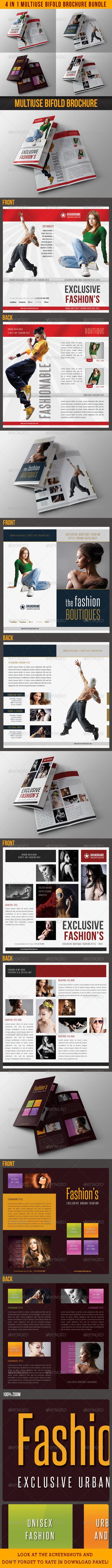 GraphicRiver 4 in 1 Fashion Multiuse Bifold Brochure Bundle 07 7772315