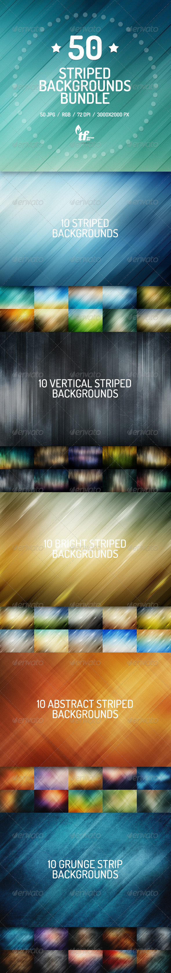 GraphicRiver 50 Striped Backgrounds Bundle 7772612