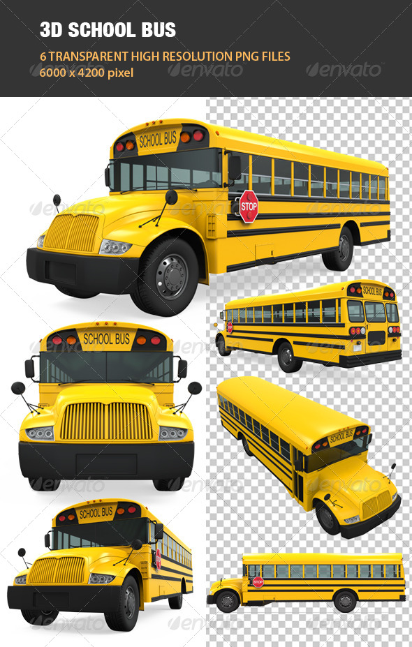 GraphicRiver 3D School Bus 7772663