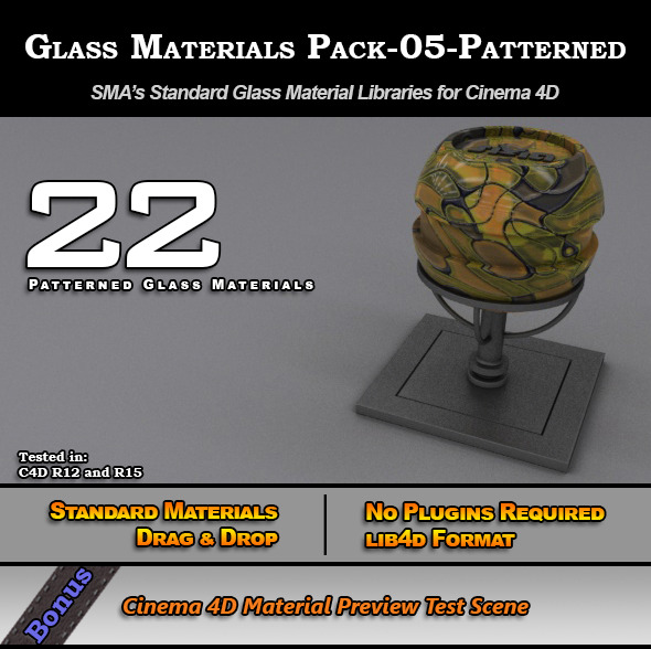 3DOcean Glass Materials Pack-05-Patterned for Cinema 4D 7773376