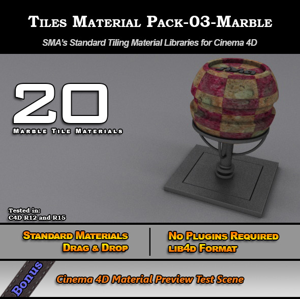 3DOcean Standard Tiles Material Pack-03-Marble for C4D 7773576