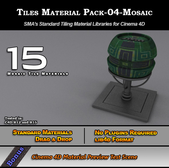 3DOcean Standard Tiles Material Pack-04-Mosaic for C4D 7773598