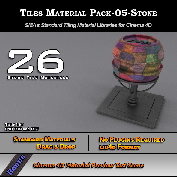 3DOcean Standard Tiles Material Pack-05-Stone for C4D 7773614