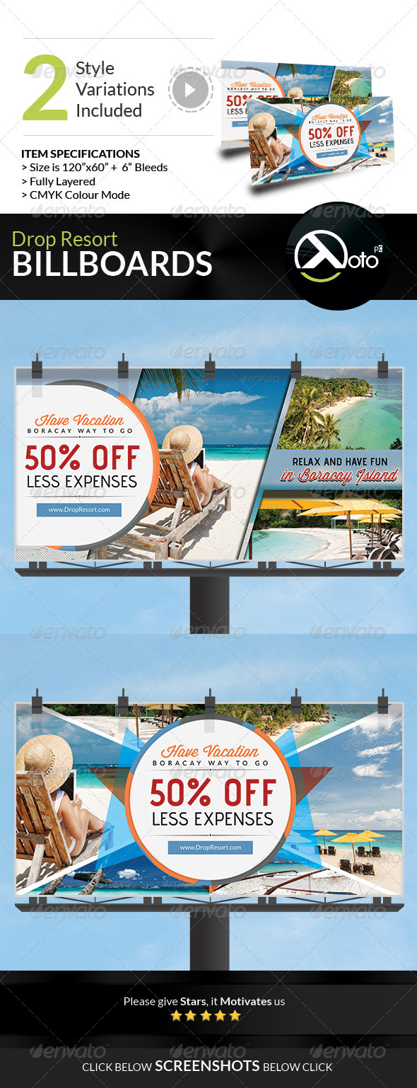 GraphicRiver Drop Beach Resort Vacation Trip Billboards 7776604