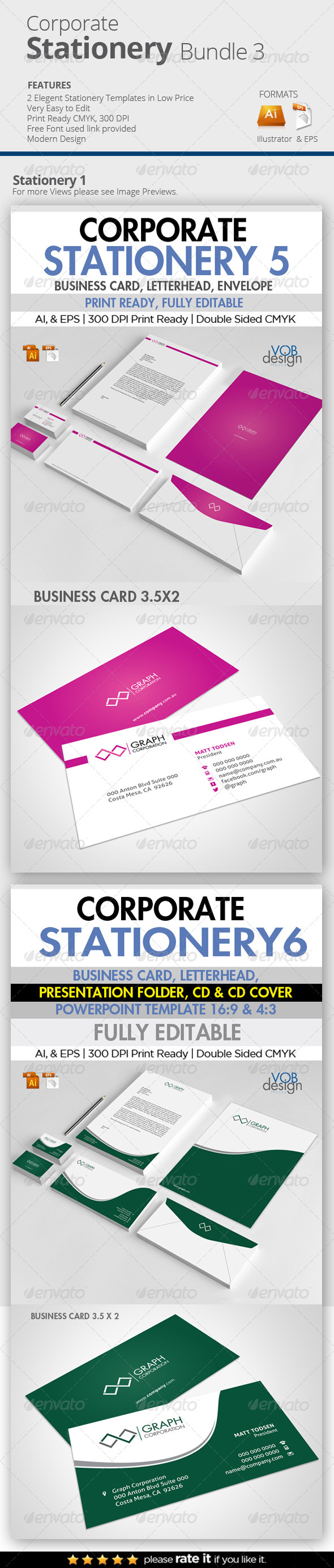 GraphicRiver Edit Corporate Stationery Bundle 3 7777419