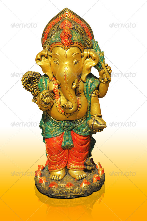 Hindu god Ganesha with reflection on orange floor - Stock Photo - Images