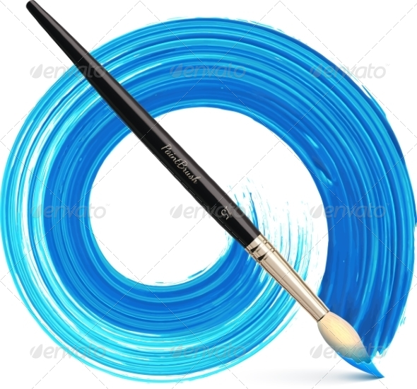 GraphicRiver Vector Paintbrush with Blue Brush Stroke 7777868
