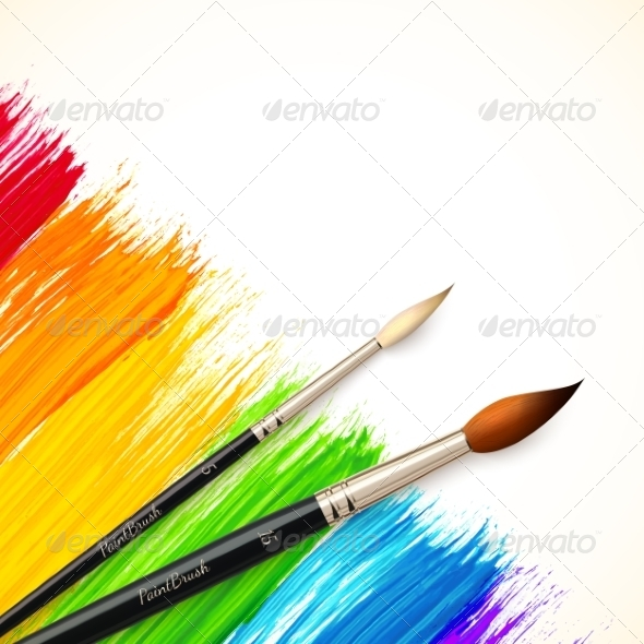 GraphicRiver Acrylic Rainbow Background with Brushes 7777874