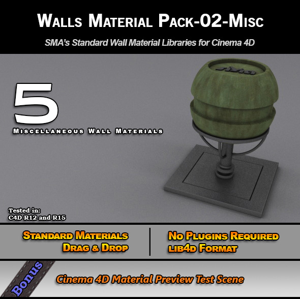 3DOcean Standard Walls Material Pack-02-Misc for C4D 7778154