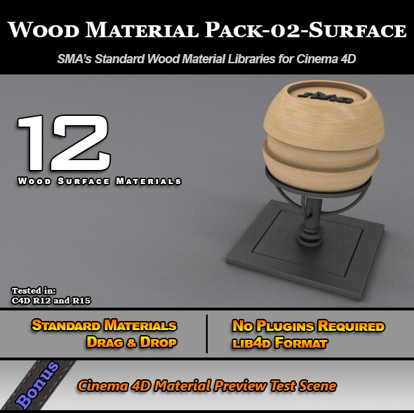 3DOcean Standard Wood Material Pack-02-Surface for C4D 7779867