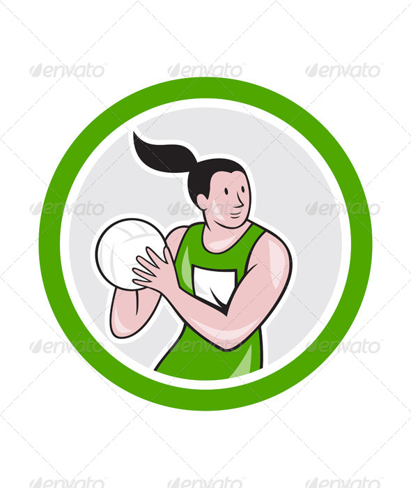 GraphicRiver Netball Player Catching Ball Circle Cartoon 7779996