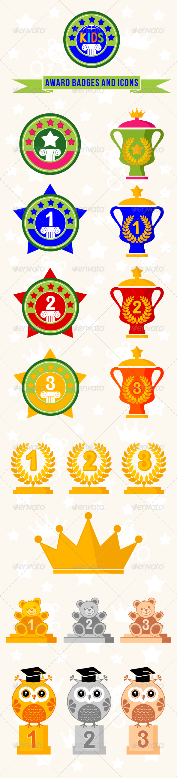 GraphicRiver 19 Kid Awards Badges and Icons 7780864