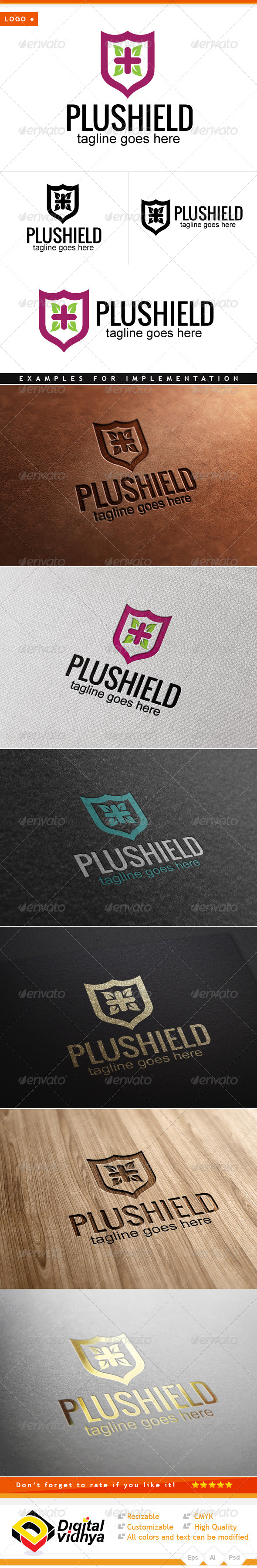 GraphicRiver Health Plus Shield Logo 7780899