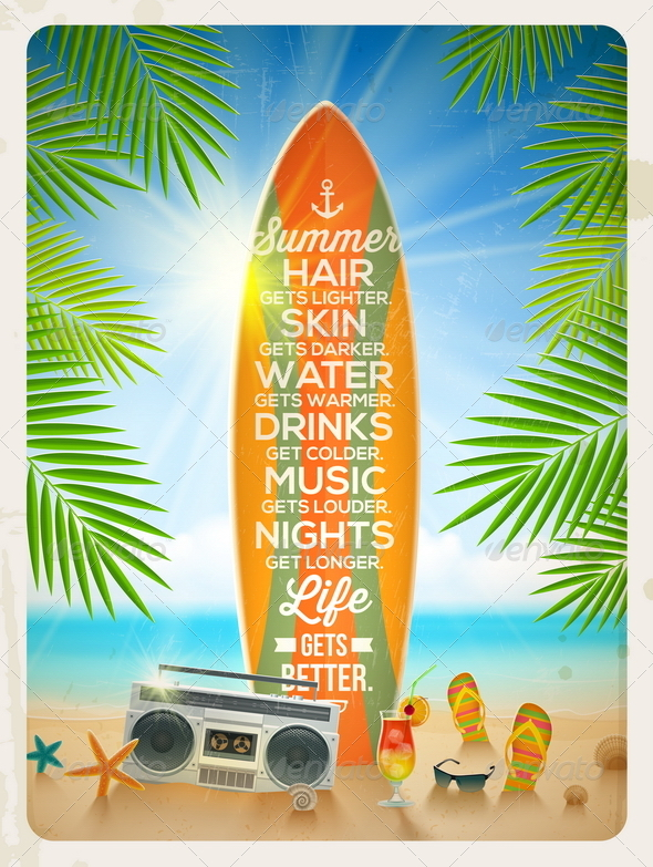 GraphicRiver Summer Beach Vacation Design 7782028