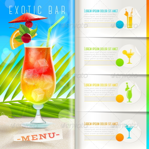 GraphicRiver Tropical Beach Bar Menu 7782159