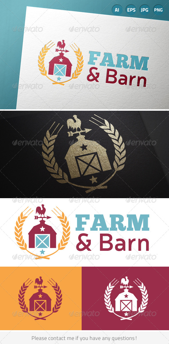 GraphicRiver Farm Barn Country Wheat Logo 7783647