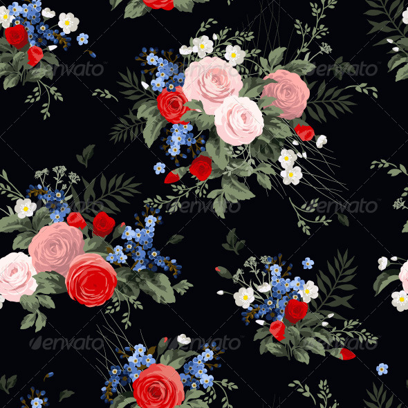 GraphicRiver Seamless Floral Pattern with Roses 7784853