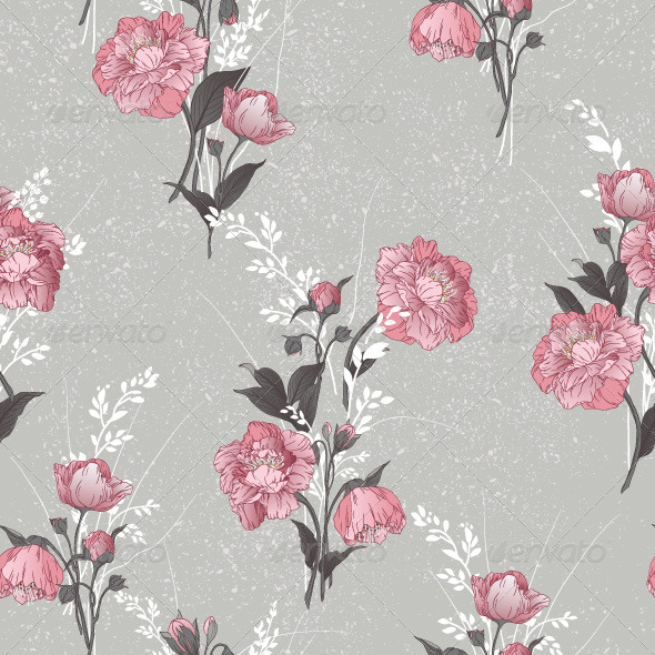 GraphicRiver Seamless Floral Pattern with Pink Roses 7784890