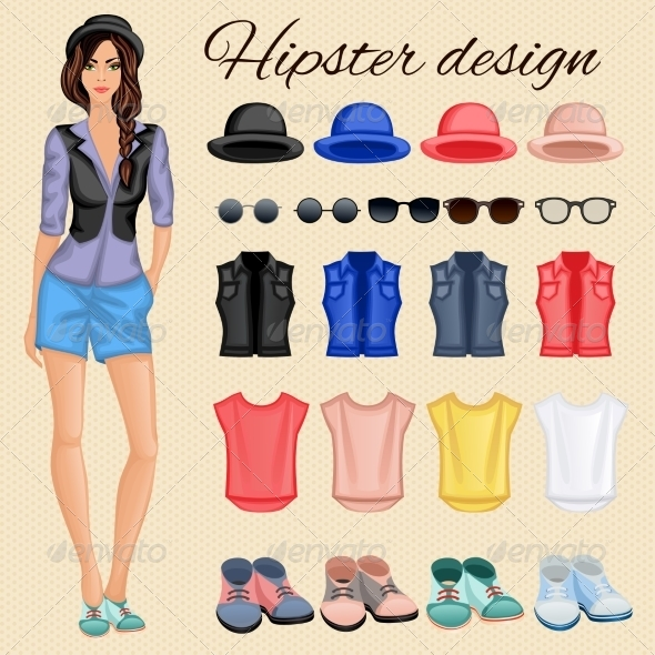 GraphicRiver Hipster Girl Elements 7785416