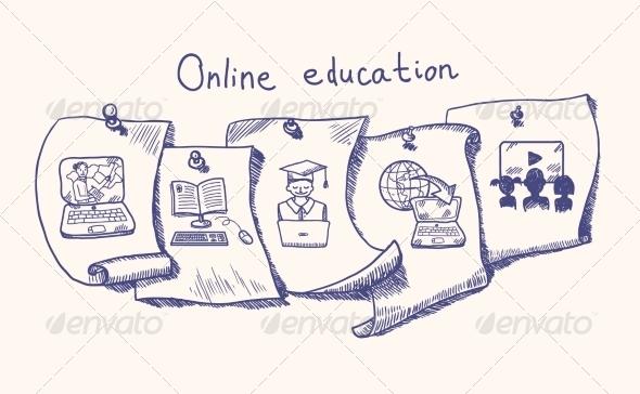 GraphicRiver Online Education Sticker Set 7785595
