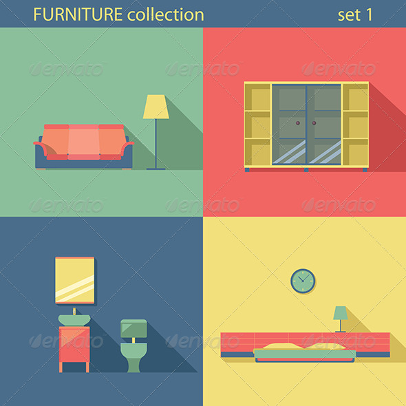 GraphicRiver Furniture Set Flat Long Shadow Interior 7786405