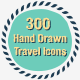 300 Travel Hand Drawing Icons - GraphicRiver Item for Sale