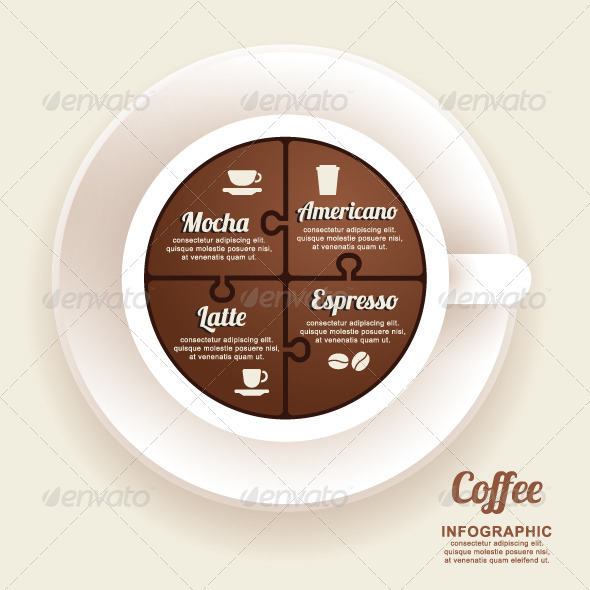 GraphicRiver Infographic Template with Coffee Cup Jigsaw banner 7788574