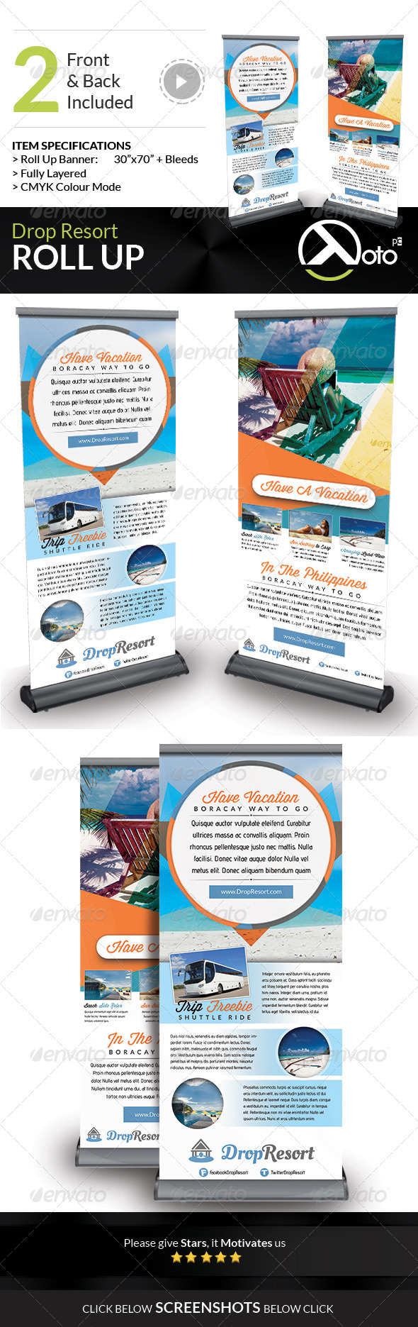GraphicRiver Drop Beach Resort Vacation Trip Roll Up 7789200