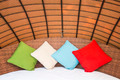 Colorful Pillow on hotel bed with space for text - PhotoDune Item for Sale