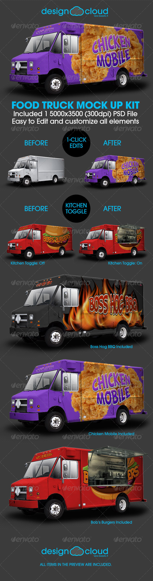 GraphicRiver Food Truck Mock Up Kit 7789874