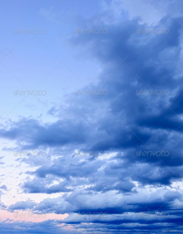 Dramatic cloudy sky at sunset - Stock Photo - Images
