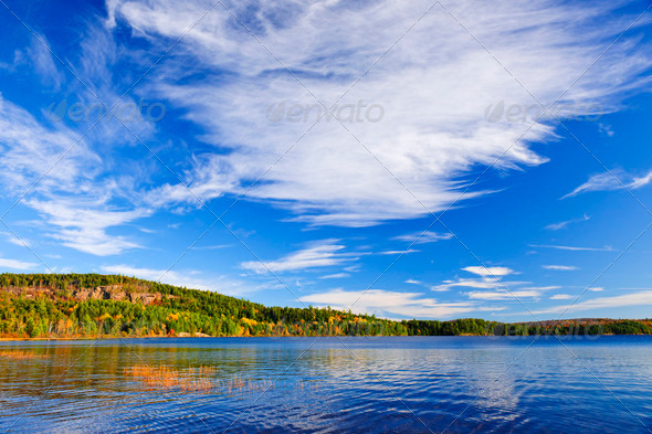 Fall forest and lake - Stock Photo - Images