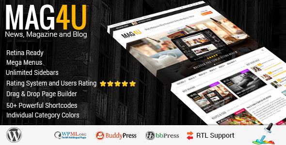 ThemeForest Mag4u Responsive WordPress News Magazine Blog 7657387