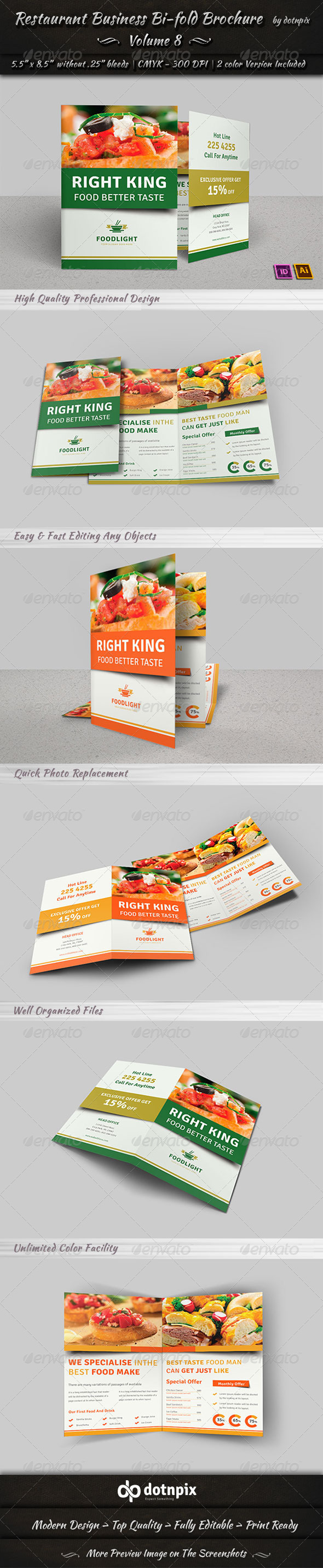GraphicRiver Restaurant Business Bi-Fold Brochure Volume 8 7794554