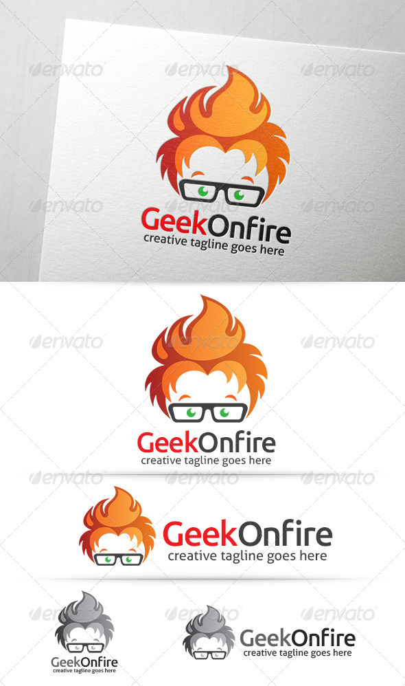 GraphicRiver Geek On Fire Logo 7775778