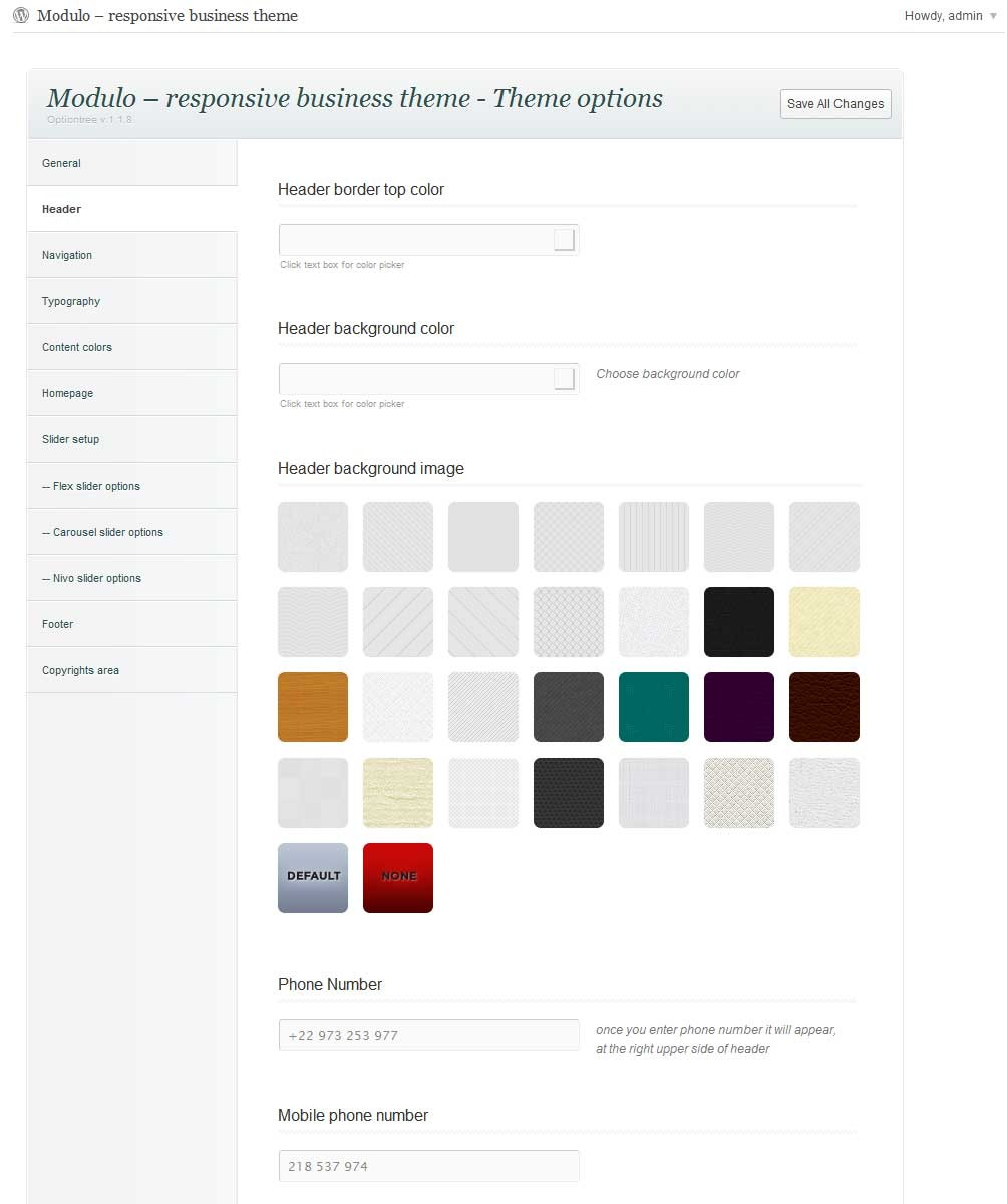 Modulo - Responsive premium theme - Header options