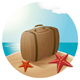 Suitcase At The Sea Beach - GraphicRiver Item for Sale