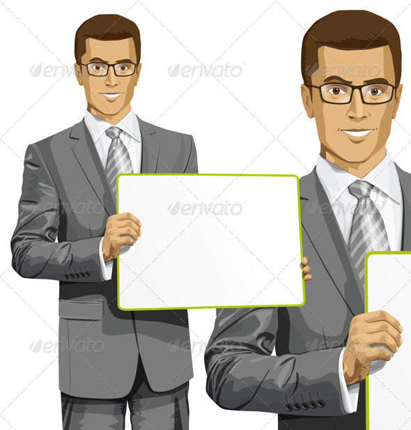 GraphicRiver Vector Business Man with Empty Write Board 7796039