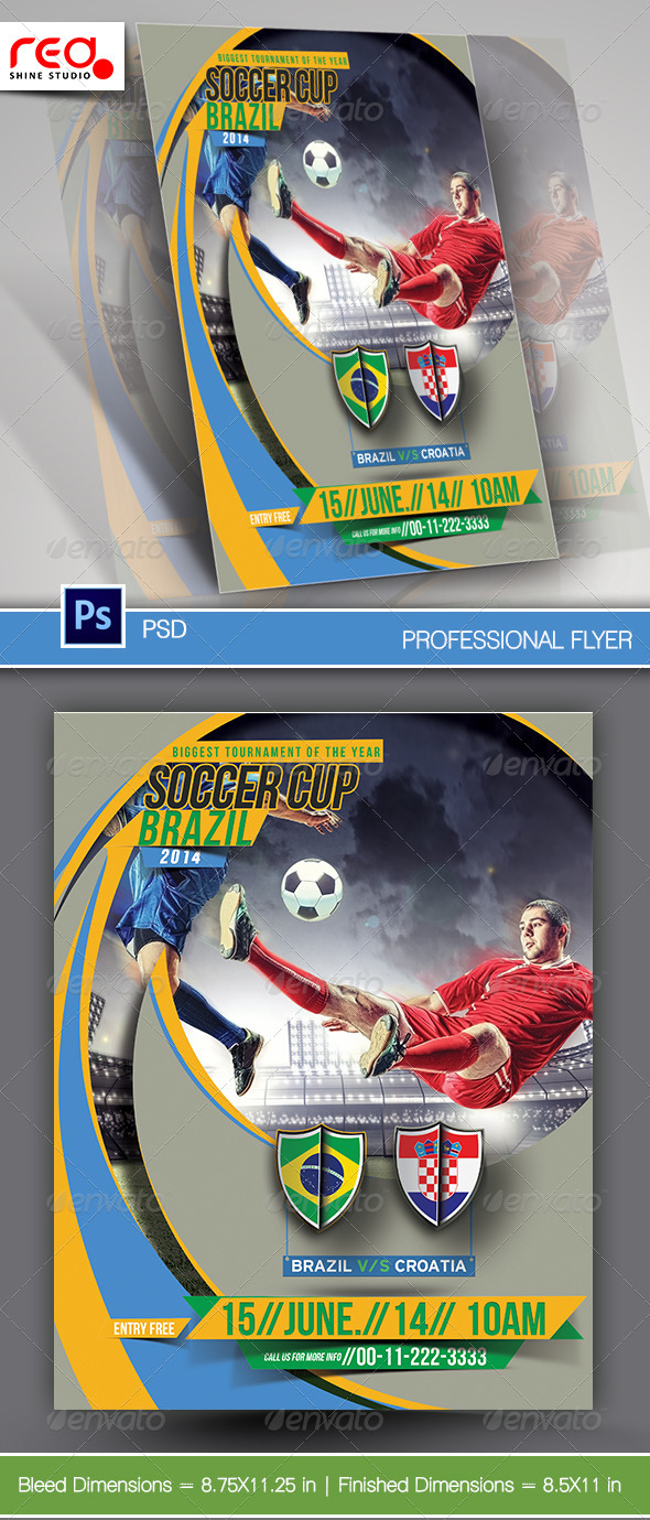 GraphicRiver Football Cup Flyer Poster Magazine Template 7796294