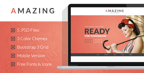 ThemeForest Amazing Multipurpose Onepage PSD Template 7796481
