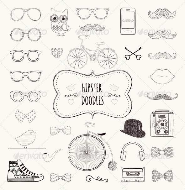 GraphicRiver Hipster Retro Vintage Doodle Icon Set 7796885