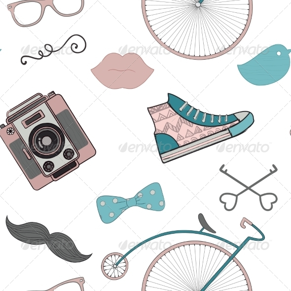 GraphicRiver Hipster Retro Vintage Doodle Seamless Pattern 7797275